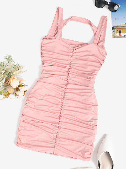 ladies Ruched Slinky Sleeveless Bodycon Dress - LIGHT PINK M Mobile