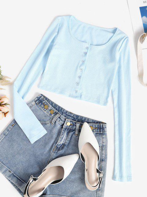 Blusa Barriga de Fora de Manga Comprida Cortado - Azul claro M Mobile