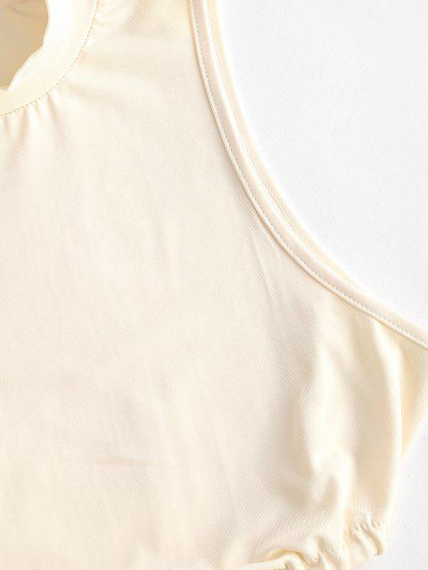 shop Mock Neck Asymmetrical Hem Tank Top - LIGHT YELLOW M Mobile