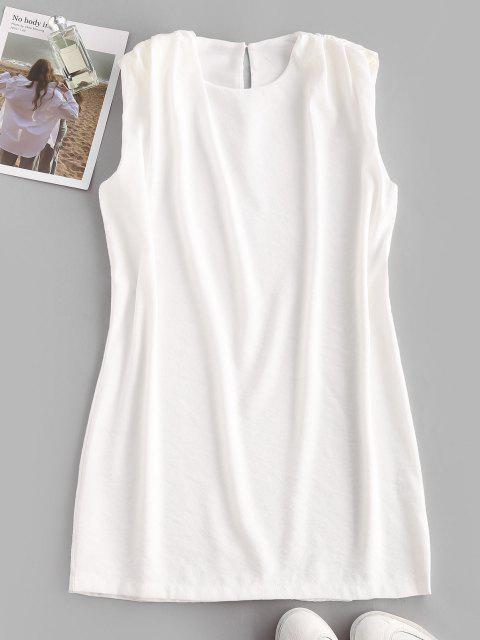 women Sleeveless Padded Shoulder Straight Mini Dress - WHITE M Mobile