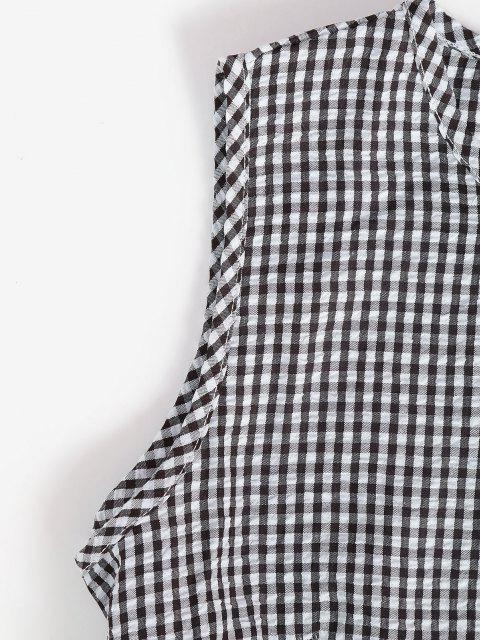 shops Gingham Seersucker Flounce A Line Dress - BLACK M Mobile