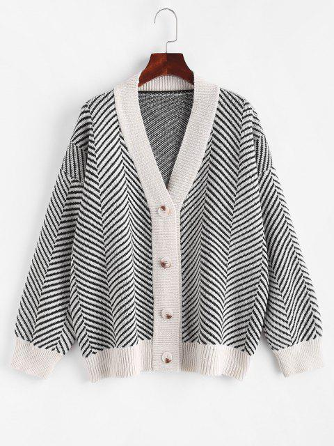 sale Button Up Stripes Oversized Cardigan - WARM WHITE ONE SIZE Mobile