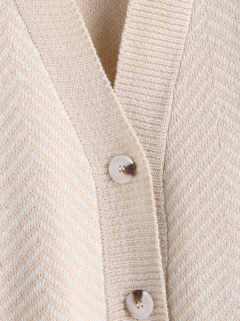 shops Button Up Stripes Oversized Cardigan - LIGHT COFFEE ONE SIZE Mobile
