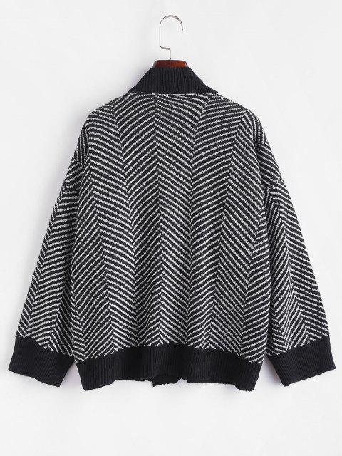 fashion Button Up Stripes Oversized Cardigan - GRAPHITE BLACK ONE SIZE Mobile
