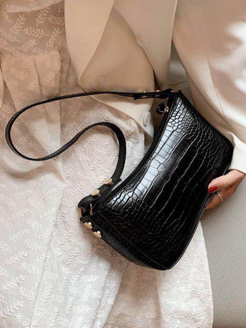 women French Style Solid Shoulder Bag - BLACK  Mobile