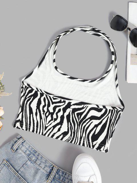Canotta Corta Stampata Zebra con Halter - Bianca Latte M Mobile