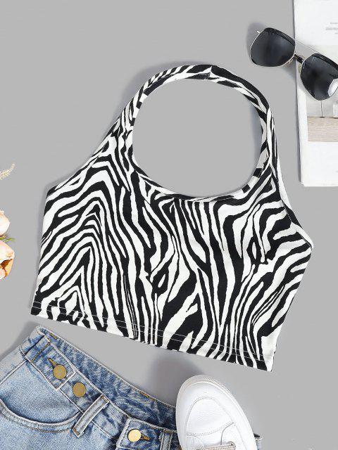 outfit Halter Zebra Pattern Jersey Crop Tank Top - MILK WHITE S Mobile