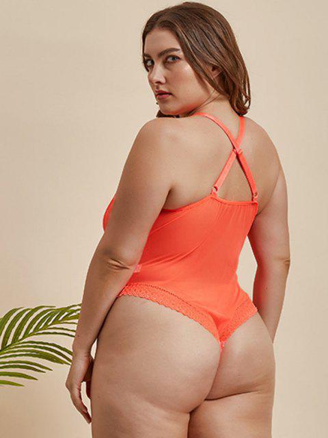 Übergröße Neon Spitze und Druckknopf Schritt Teddy - Hell orange 3XL Mobile