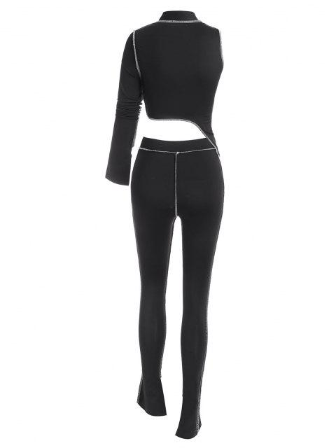 sale 2PCS Topstitching Asymmetrical Top and Split Hem Leggings Set - BLACK L Mobile