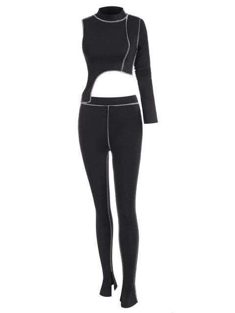 affordable 2PCS Topstitching Asymmetrical Top and Split Hem Leggings Set - BLACK S Mobile