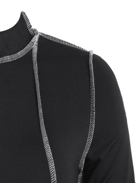 buy 2PCS Topstitching Asymmetrical Top and Split Hem Leggings Set - BLACK M Mobile