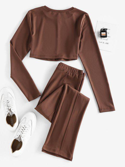 trendy ZAFUL Exposed Seams Plain Straight Pants Set - DEEP COFFEE L Mobile
