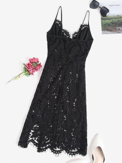 buy Lace Sheer Slit Sexy Cami Babydoll - BLACK S Mobile