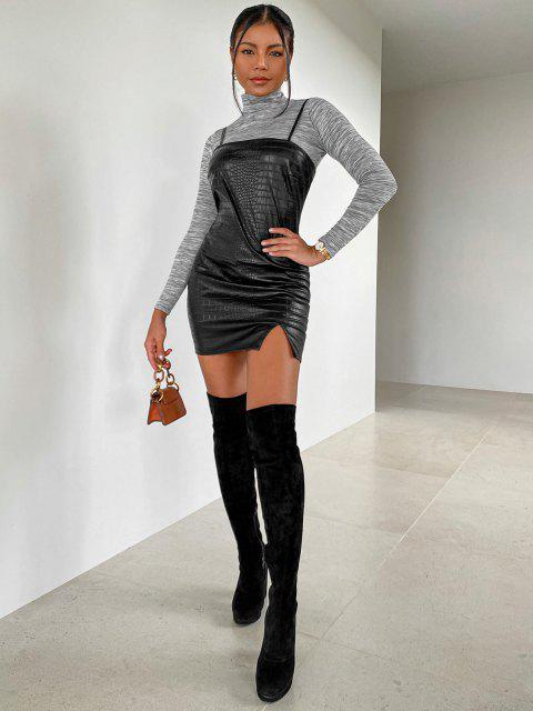 buy ZAFUL Front Slit Faux Leather Mini Dress - NIGHT S Mobile