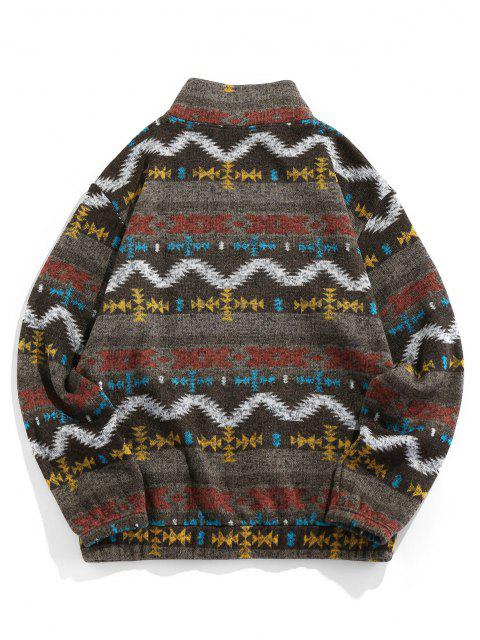 women ZAFUL Tribal Jacquard Zip Up Fleece Jacket - BROWN BEAR M Mobile
