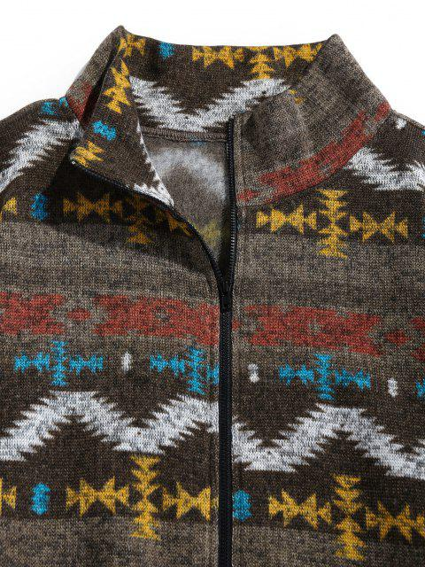 lady ZAFUL Tribal Jacquard Zip Up Fleece Jacket - BROWN BEAR 2XL Mobile