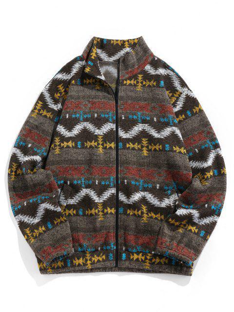 ZAFUL Tribal Jacquard Zip Up Fleece Jacket - دب بنى 2XL Mobile