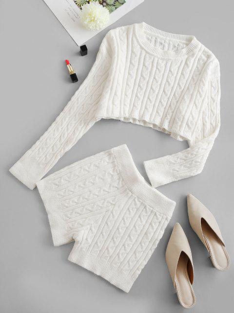 ladies Cropped Solid Cable Knit Two Piece Set - WHITE ONE SIZE Mobile