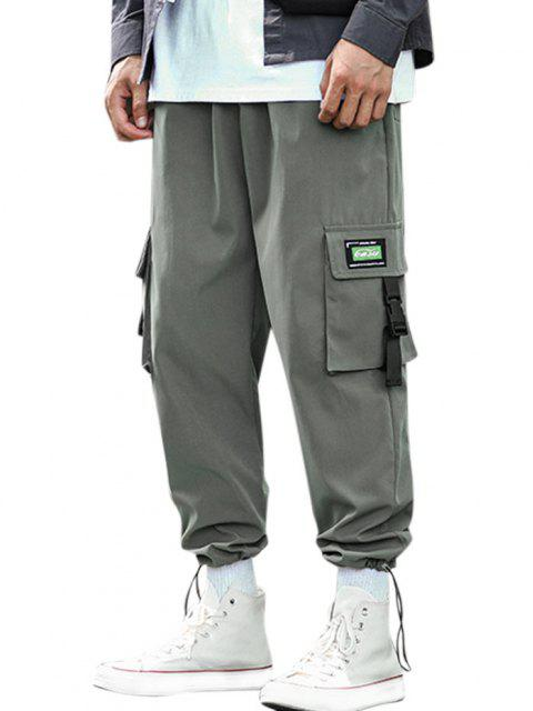fancy Buckle Strap Letter Applique Cargo Pants - DARK GRAY L Mobile