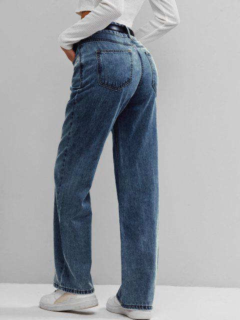 latest ZAFUL High Waist Wide Leg Jeans - DEEP BLUE M Mobile