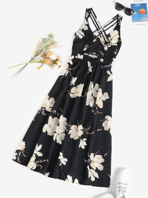 hot Floral Crisscross Open Back Midi Dress - BLACK S Mobile