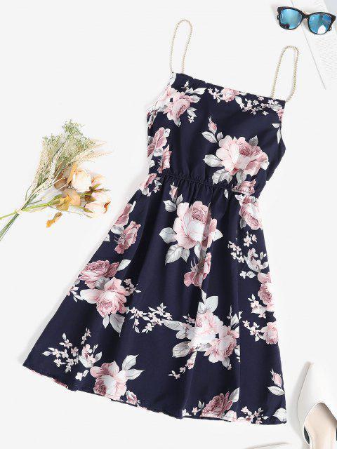 outfit Rope Straps Floral A Line Sundress - DEEP BLUE ONE SIZE Mobile