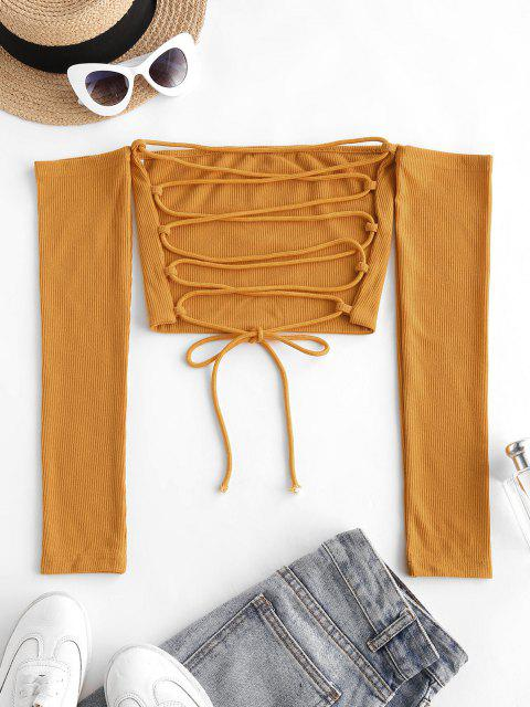 best Off Shoulder Rib-knit Lace-up Open Back Crop Top - YELLOW L Mobile