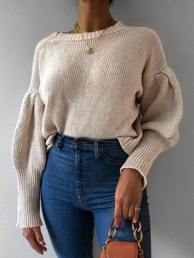 Solid Balloon Sleeve Crew Neck Sweater - White