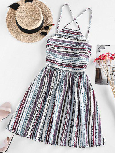 ZAFUL Bohemian Printed Lace-up Backless Sundress - White S