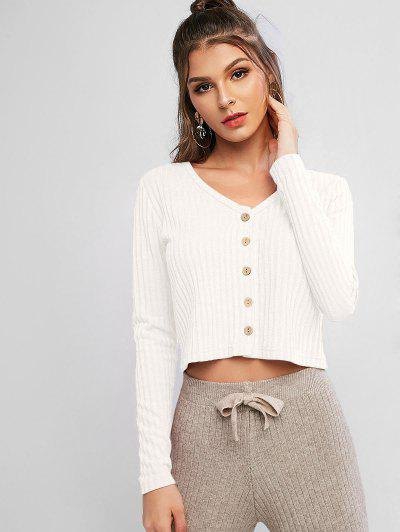 Solid Ribbed Button Up Cardigan - White S