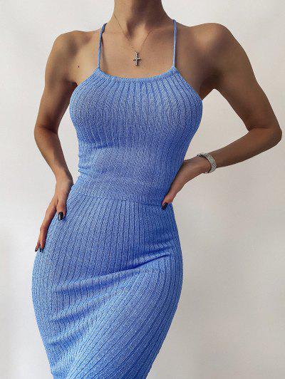 Open Back Crisscross Knitted Two Piece Dress - Blue M