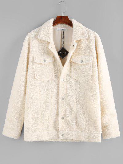 ZAFUL Solid Pocket Patch Teddy Jacket - White S
