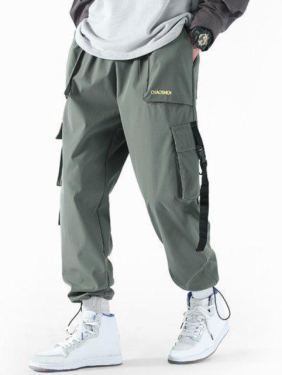Pantalones De Carga Con Cordones Y Bordado De Letras De ToAlternado - Turquesa Gris Xl