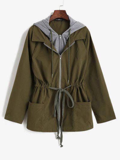 ZAFUL Hooded Drawstring Cargo Combo Jacket - Deep Green M