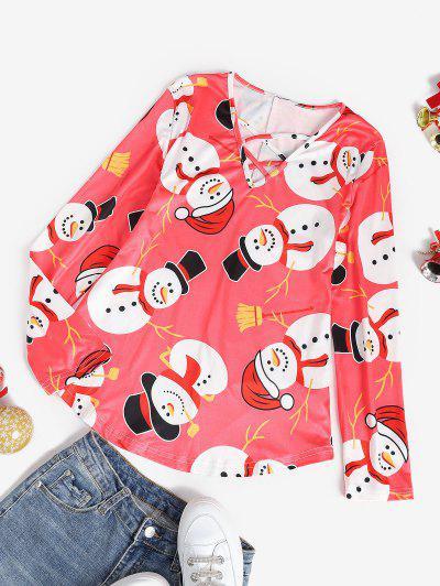Weihnachten Schneemann Lattice Ärmel Einfaches T-Shirt - Rot L
