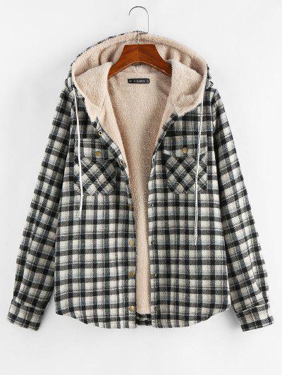Plaid Hooded Pocket Fleece Lining Jacket - Black Xl