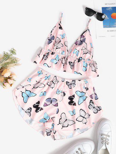 Flounce Butterfly Cami Pajamas Set - Light Pink L
