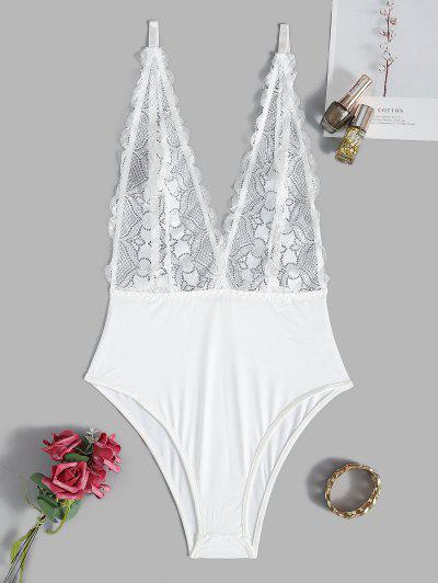 Plunge Lace Sheer Sexy Cami Teddy - White M