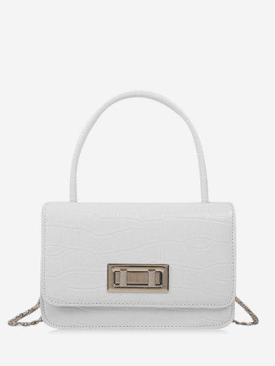Embossed Rectangle Chain Handbag - Milk White