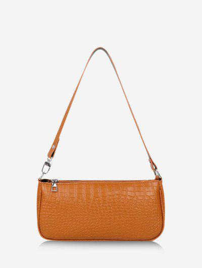 Brief Textured Shoulder Bag - Light Brown