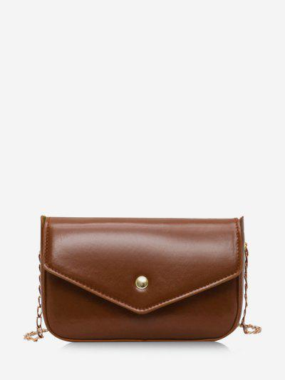 Retro Envelope Chain Crossbody Bag - Brown