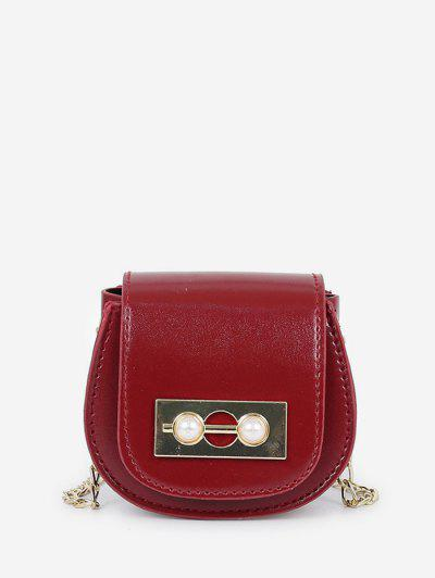 Faux Pearl Chain Saddle Bag - Red Wine