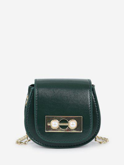 Faux Pearl Chain Saddle Bag - Dark Forest Green
