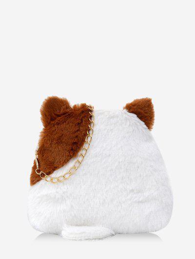 Animal Shape Fleece Crossbody Bag - Brown
