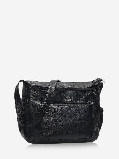 Casual Zipper Pockets Crossbody Bag - Black