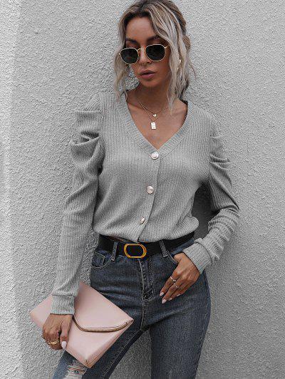 Rib-knit Gigot Sleeve Cardigan - Gray S
