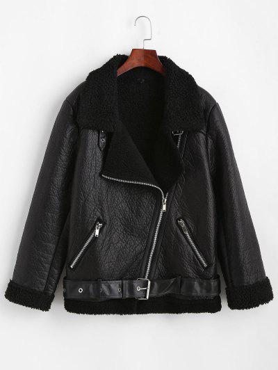 Faux Leather Zippered Pockets Faux Shearling Coat - Black L