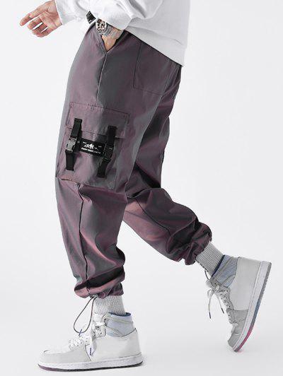 Buckle Strap Applique Drawstring Cargo Pants - Rose Gold S