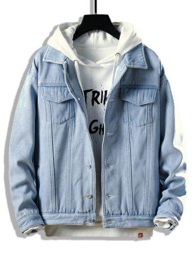 Button Up Fleece Jean Jacket - Light Blue Xs