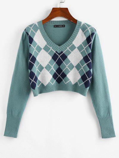 ZAFUL Argyle V Neck Crop Sweater - Light Green S